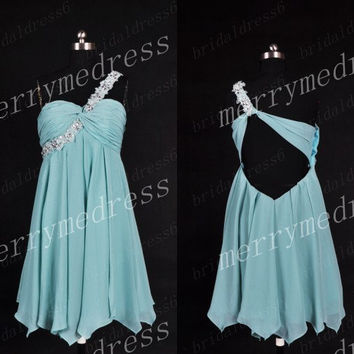 2014 Beads Ice Blue Strapless One-Shoulder Lace-up Empired Short Bridesmaid Dress,Chiffon Formal Evening Party Prom Dress Homecoming Dress