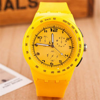 Unisex Minimalist Yellow Jelly Band Strap Watch Best Gift watches-439