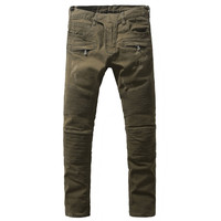 Men's fashion army green slim fit biker jeans for man Casual pleated straight denim long pants