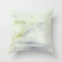 """Delicate green cushion cover with fine art print Pastel pillow Minimal watercolor accent pillow cover. Couch pillow cover """"The Road Ahead 1"""""""