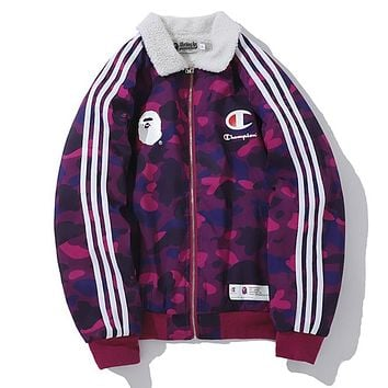 BAPE AAPE Champion Winter Popular Casual Purple Camouflage Lambs Wool Cotton Zipper Cardigan Jacket Coat