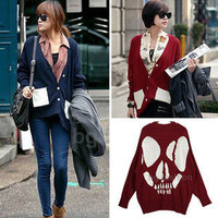 2012 New Korea Womens Long Sleeve Cardigan Skull Print Sweater Knitwear Tops S-L