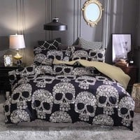 3pcs/lot Sugar Skull Printed Queen Comforter Sets Bedding King Twin Size Luxury Bed Duvet Cover Sheet Set Linen Home Textiles