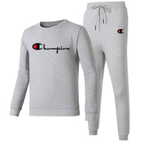 Champion 2018 autumn and winter new tide brand casual men's running two-piece suit grey