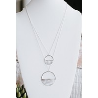 Two Open Top Metal Circle Necklace