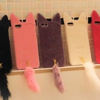 MagicPieces Colorful Protective Snap On Case for iPhone 5 Frizzy Downy Cute Cat with Tail Hot Pink