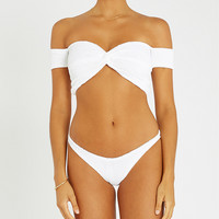 HUNZA G Brigette off-the-shoulder seersucker bikini set