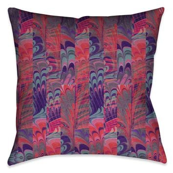 Pink and Purple Marble Outdoor Decorative Pillow