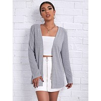 SHEIN Open Front Rib-knit Coat