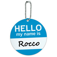 Rocco Hello My Name Is Round ID Card Luggage Tag