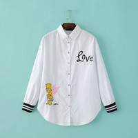 White Cartoon Letter Embroidery Turn-down Collar Long Sleeve Shirt