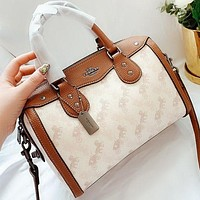 COACH New fashion pattern print leather pillow shape shoulder bag handbag