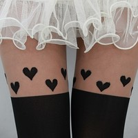 Heart Pantyhose - black knee-high pantyhose with cute hearts over the knee