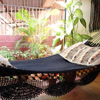 Black Magic Two Single Hammock handwoven Natural by hamanica