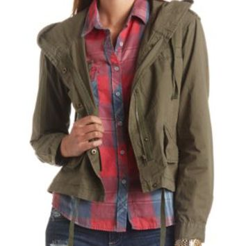 Cropped Boxy Hooded Anorak Jacket by Charlotte Russe - Olive