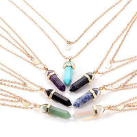 Fashion Women Natural Stone Pendant Gold Plated Double Layer Necklace Jewelry HU