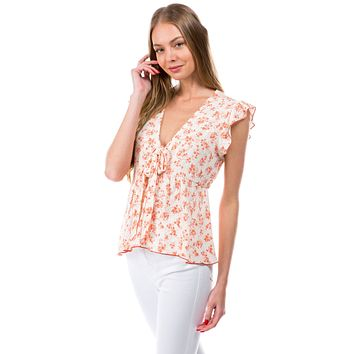 Floral Ditsy Tie Front Flutter Sleeve Babydoll Top
