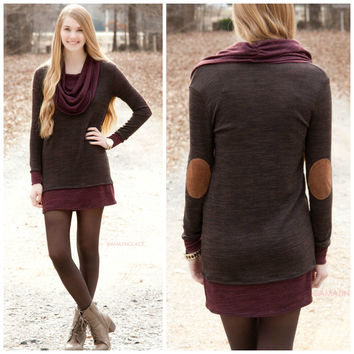 Late For Work Mocha & Burgundy Cowl Neck Elbow Patch Dress