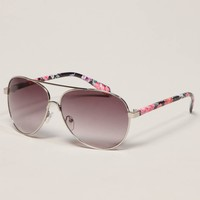AE Floral Aviator Sunglasses | American Eagle Outfitters