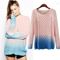 Gradient Knit Long Sleeve Sweater