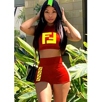 Fendi tide brand female personality sleeveless shirt shorts suit two-piece red