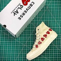 CDG PLAY x Converse Chuck Taylor Material OX Addict Vibram Mid White Sneakers - Sale