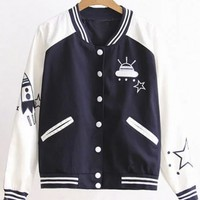 New Arrival Contrast Trim Color Block Printed Baseball Jacket