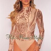 Rose Gold Victorian Sequins Sheer Mesh Bodysuit