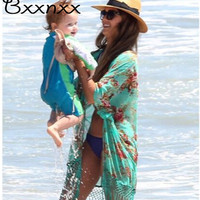 High Quality Half Sleeve Print Swimsuit Cover Up Summer New Style Sexy Beach Cover Up Bathing Suit