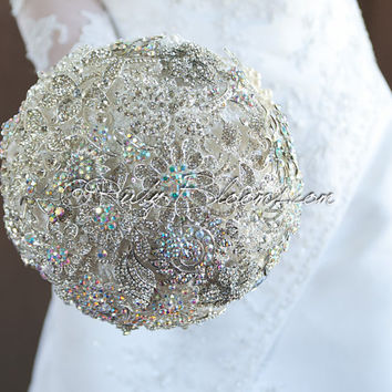 "Crystal Silver Wedding brooch bouquet. Deposit - ""White Diamond"" White Platinum Heirloom Bridal broach bouquet by Ruby Blooms Weddings"