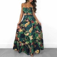 Summer Strapless Two Pieces  Tropical Print Tube Top&Maxi Skirt