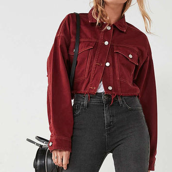 UO Oversized Cropped Denim Trucker Jacket | Urban Outfitters