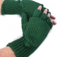 Convertibles, Hand Knit, Sage Hobo (Fingerless) Gloves Mittens, Gifts for Women