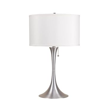 Metal Base Table Lamp With Fabric Shade Silver