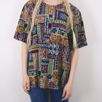 Vintage Neutral Abstract Blouse