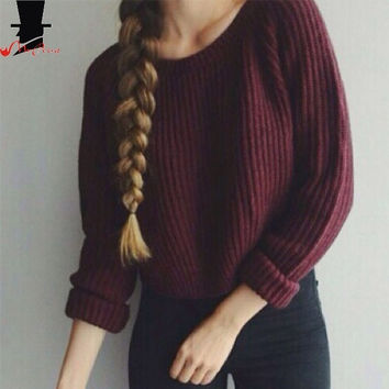 MrPrint™ Autumn Winter Women's Pullovers Round Collar Long Sleeve Wine Red Knitted Sweater = 1920418564