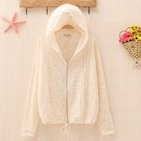 Sweet Lace Flower Crochet Batwing Hooded Lace-up Jacket