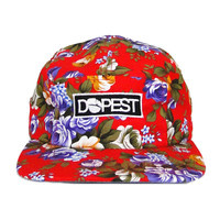 Dopest Floral 5 Panel in Solid Red Floral