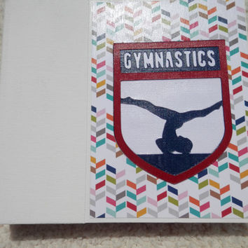 6x6 White Navy Red Gymnastics Scrapbook Photo Album