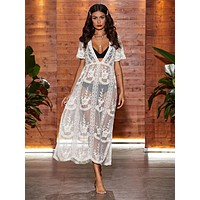 Sheer Floral Embroidery Mesh Slit Hem Cover Up Without Bikini