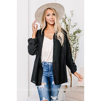 Back In Black Button Down Top