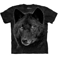 BLACK WOLF T-Shirt The Mountain Big Face Wolves Head S-3XL NEW