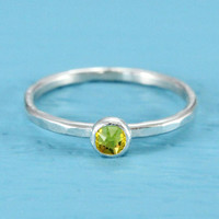 November birthstone ring sterling silver stacking ring with Swarovski yellow Citrine faceted birthstone crystal mother's ring birthday gift