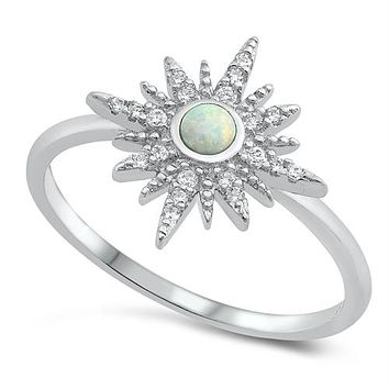 Sterling Silver Round Created Opal and CZ Star Ring