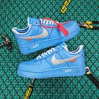 Off White X Air Force 1 Low 07 Mca University Blue/silver