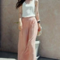 Pink High Waist Wide Chiffon Harem Pants