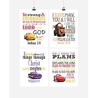 Cars Christian Nursery Decor Art Print Set of 4