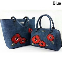 Kate Spade Women's Exquisite Trendy Printed Leather Tote Shoulder Bag Two-Piece Set F-LLBPFSH blue