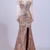 Luxury Crystal Mermaid Prom Dresses High Neck Side Split Evening Dresses Sheer Sequined Long Sleeves Illusion Back Real Photo