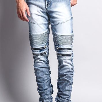 Scrunch Stacked Biker Jeans